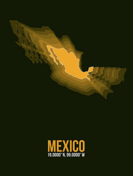 Wall Art - Digital Art - Mexico Radiant Map I by Naxart Studio