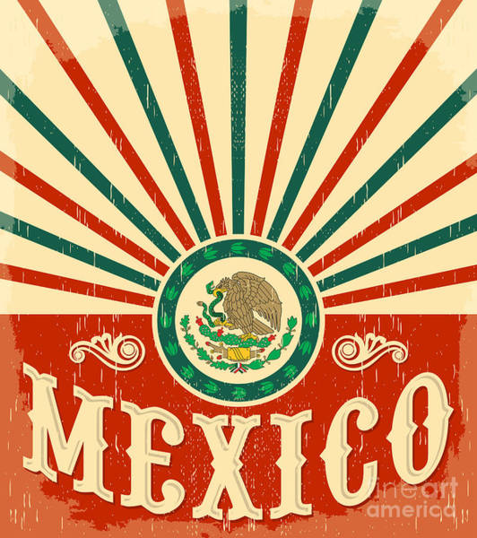 Mexico Wall Art - Digital Art - Mexico Vintage Patriotic Poster - Card by Julio Aldana