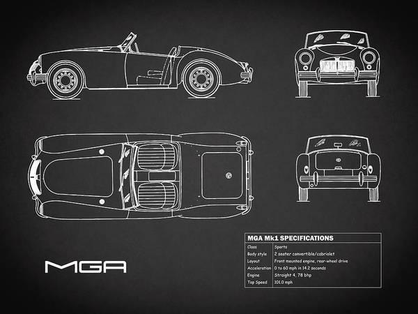 Mg Photograph - Mga Mk1 Blueprint - Black by Mark Rogan