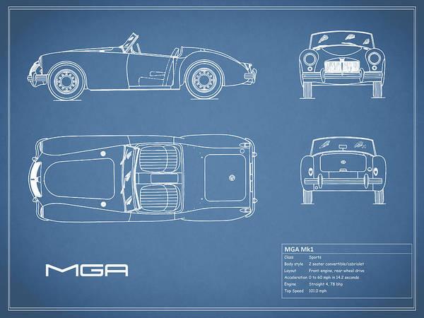 Mg Photograph - Mga Mk1 Blueprint by Mark Rogan