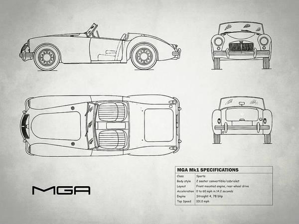 Mg Photograph - Mga Mk1 Blueprint - White by Mark Rogan