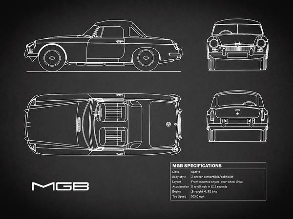Mg Photograph - Mgb Blueprint - Black by Mark Rogan