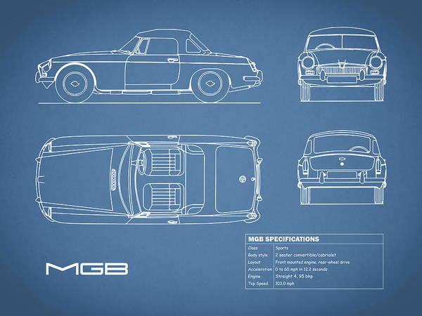 Mg Photograph - Mgb Blueprint by Mark Rogan