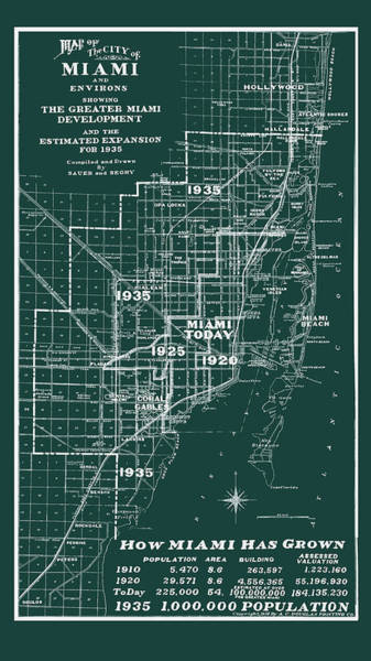 Photograph - Miami 1935 Map by Carlos Diaz