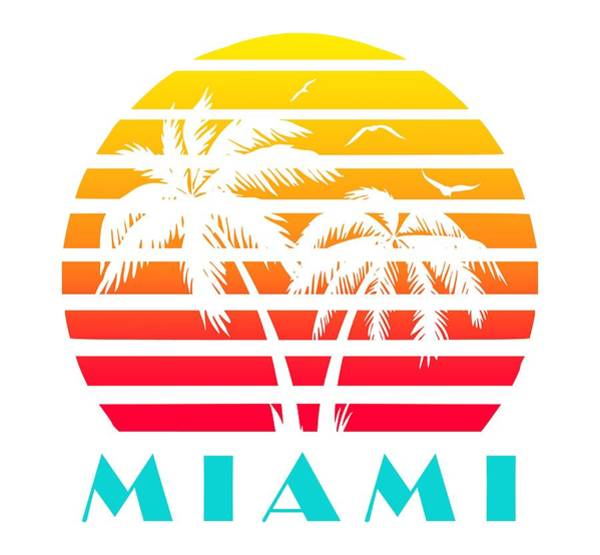 Seagull Digital Art - Miami 80s Tropical Sunset by Filip Hellman