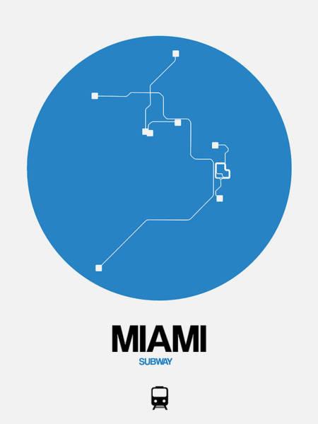 Subway Map Wall Art - Digital Art - Miami Blue Subway Map by Naxart Studio