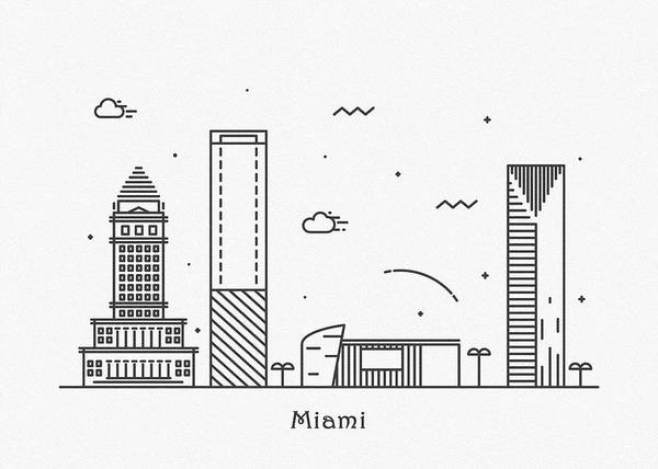 Wall Art - Drawing - Miami Cityscape Travel Poster by Inspirowl Design