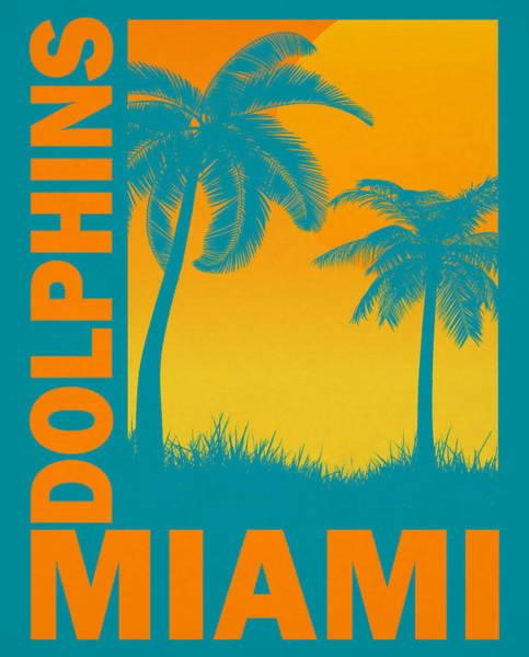 Wall Art - Mixed Media - Miami Dolphins Retro Vintage Art by Joe Hamilton