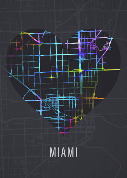 Wall Art - Mixed Media - Miami Florida City Heart Street Map Dark Mode Series by Design Turnpike