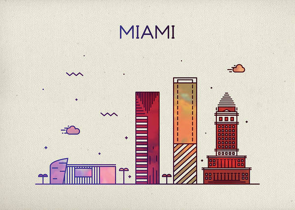 Wall Art - Mixed Media - Miami Florida City Skyline Fun Whimsical Series Wide by Design Turnpike