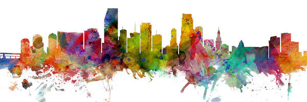 Wall Art - Digital Art - Miami Florida Skyline Panoramic by Michael Tompsett