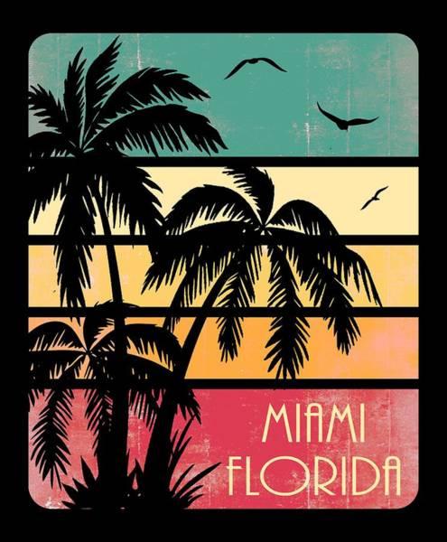 Wall Art - Digital Art - Miami Florida Vintage Summer by Filip Hellman
