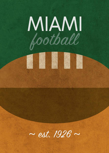 Wall Art - Mixed Media - Miami Football Minimalist Retro Sports Poster Series 020 by Design Turnpike