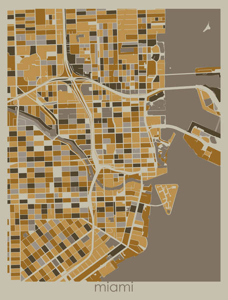 Wall Art - Digital Art - Miami Map Retro 4 by Bekim M