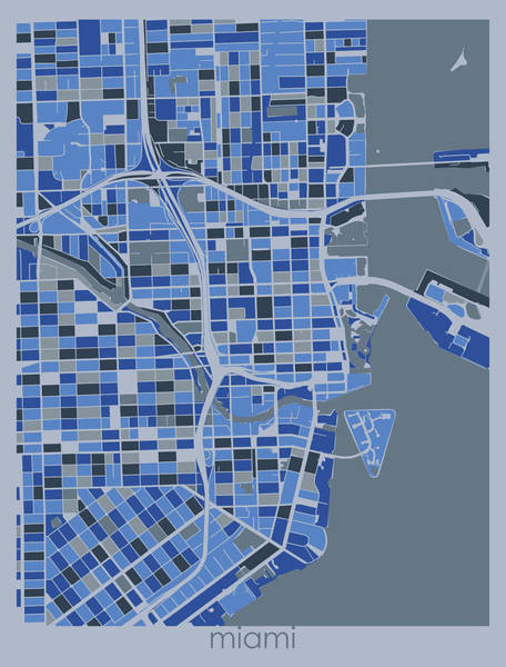Wall Art - Digital Art - Miami Map Retro 5 by Bekim M