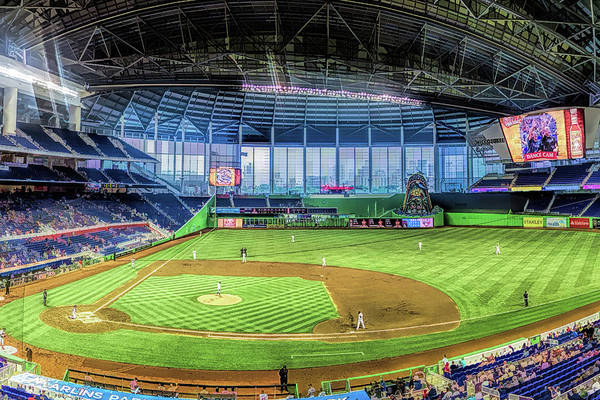 Painting - Miami Marlins Ballpark Baseball Ballpark Stadium by Christopher Arndt