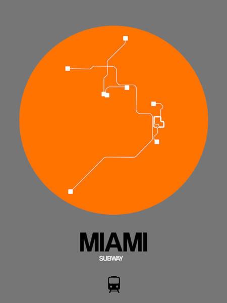 Wall Art - Digital Art - Miami Orange Subway Map by Naxart Studio