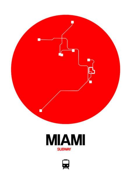 Unique Wall Art - Digital Art - Miami Red Subway Map by Naxart Studio