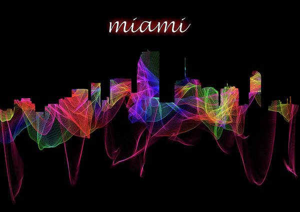 Digital Art - Miami Skyline Art With Script by Debra and Dave Vanderlaan