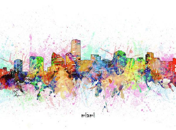 Wall Art - Digital Art - Miami Skyline Artistic by Bekim M