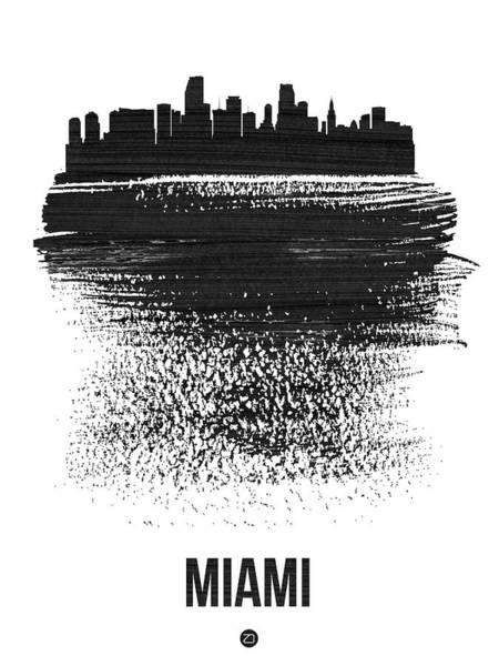Country Mixed Media - Miami Skyline Brush Stroke Black by Naxart Studio