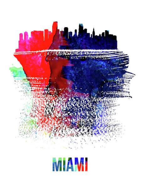 Wall Art - Mixed Media - Miami Skyline Brush Stroke Watercolor   by Naxart Studio