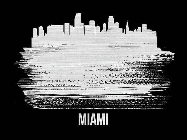 Country Mixed Media - Miami Skyline Brush Stroke White by Naxart Studio