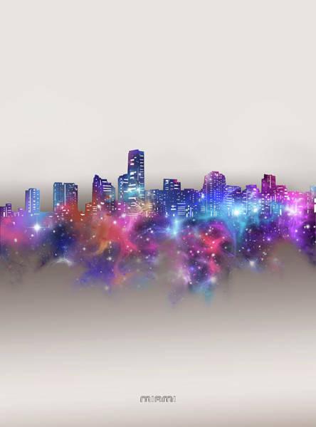 Wall Art - Digital Art - Miami Skyline Galaxy by Bekim M