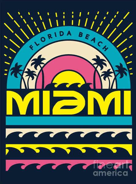 Equipment Digital Art - Miami Surf Typography, T-shirt by Braingraph