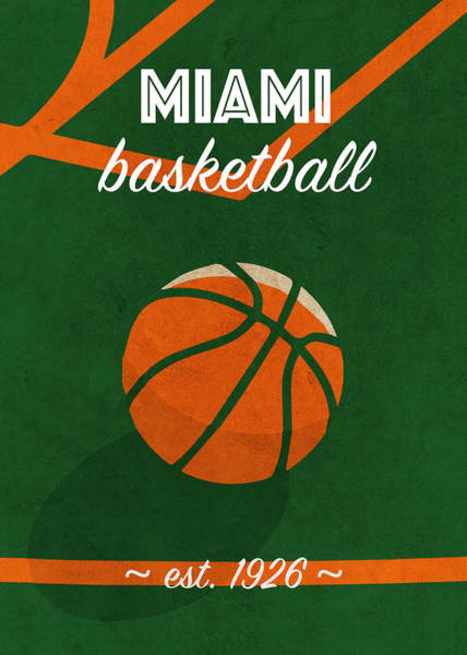 Wall Art - Mixed Media - Miami University Retro College Basketball Team Poster by Design Turnpike