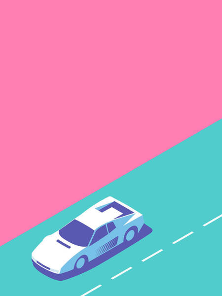 Wall Art - Digital Art - Miami Vice Car - Magenta by Ivan Krpan