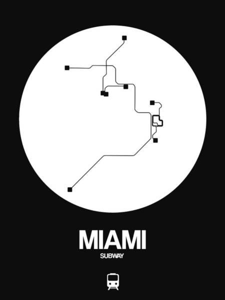 Subway Map Wall Art - Digital Art - Miami White Subway Map by Naxart Studio