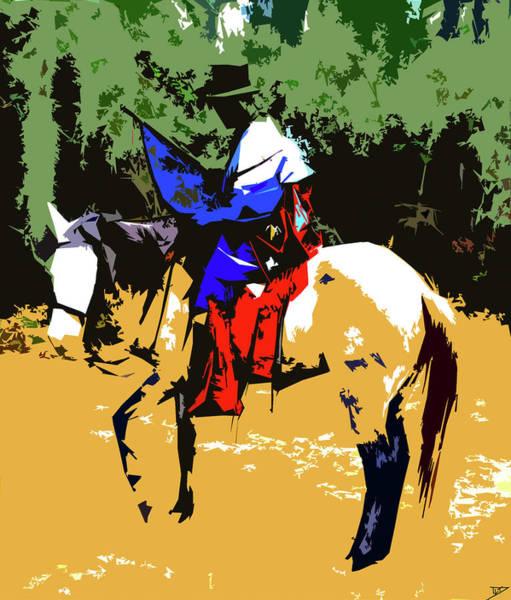 Wall Art - Digital Art - Miccosukee On Horse by David Lee Thompson