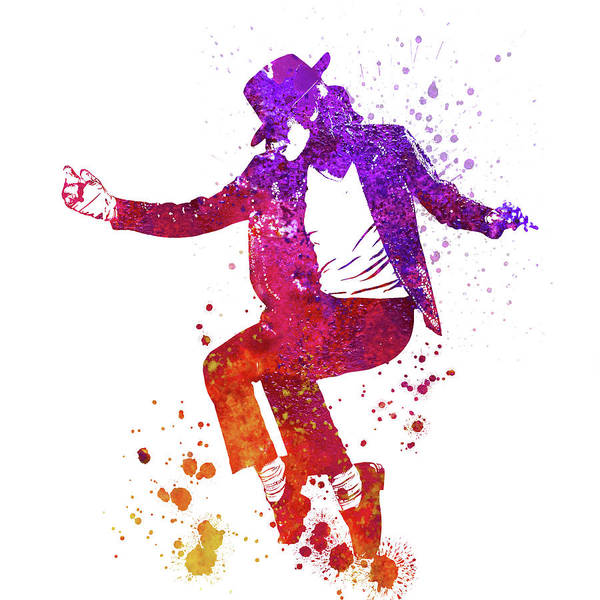 Blob Painting - Michael Jackson Billie Jean Toe Stand Dancing Watercolor Splatte by JESP Art and Decor