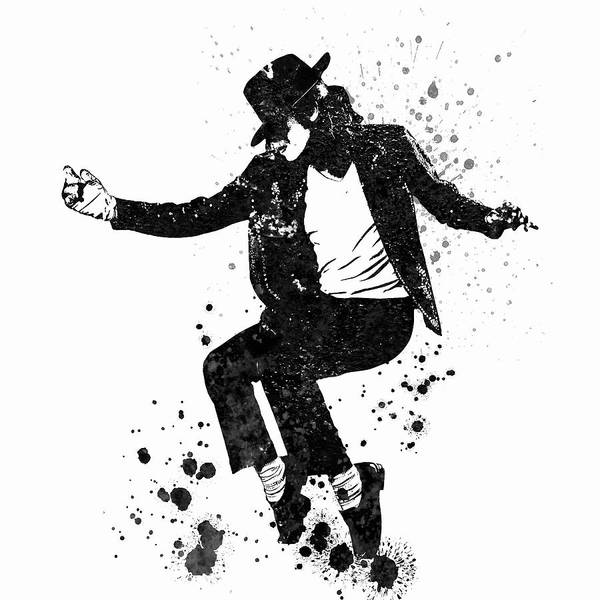 Blob Painting - Michael Jackson Black And White Watercolor 01 by JESP Art and Decor