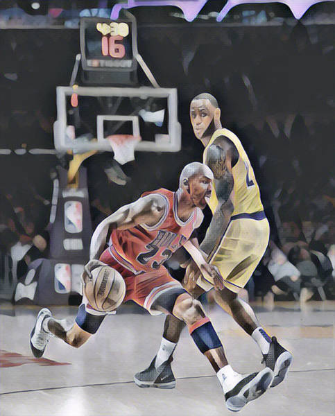 Wall Art - Mixed Media - Michael Jordan Vs Lebron James Abstract Art 2 by Joe Hamilton