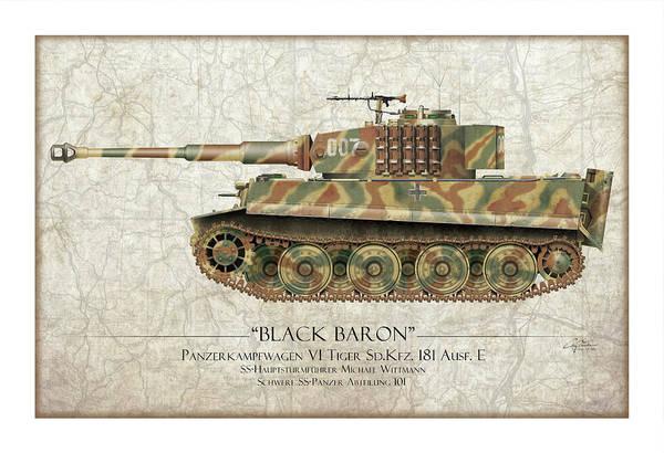 101 Digital Art - Michael Wittmann Tiger Tank 007 - Map Background by Craig Tinder