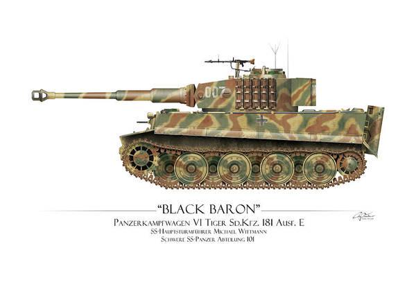 101 Digital Art - Michael Wittmann Tiger Tank 007 - White Background by Craig Tinder
