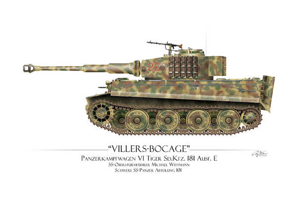 Tiger Digital Art - Michael Wittmann Tiger Tank 222 - Map Background by Craig Tinder