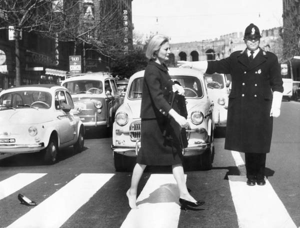 Michele Morgan Crossing A Street In Art Print by Keystone-france