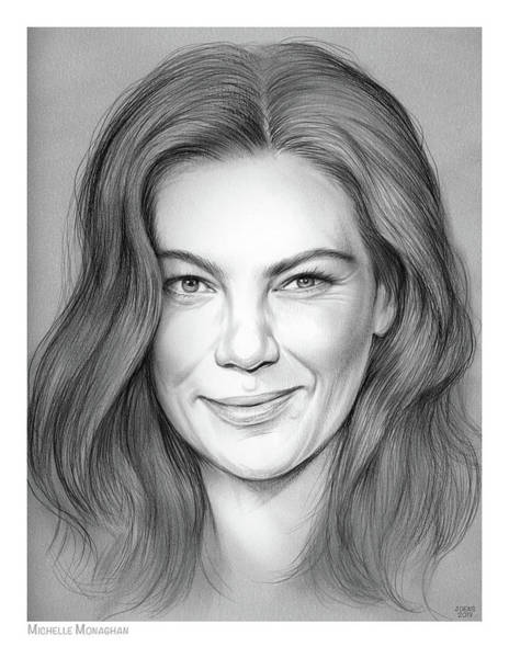 Actress Drawing - Michelle Monaghan by Greg Joens