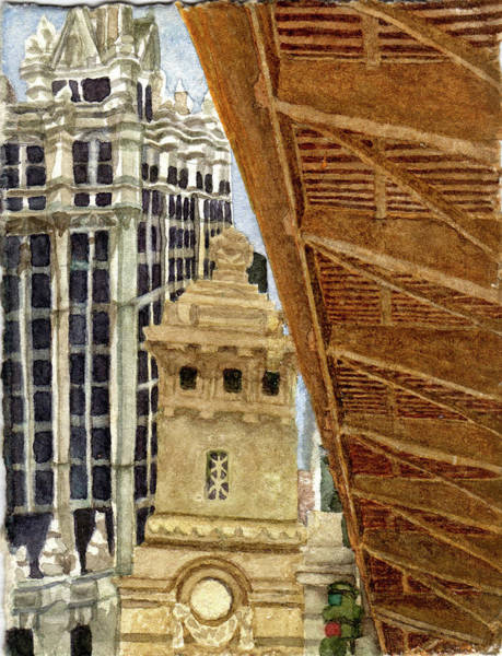 City Painting - Michigan Ave Bridge .33 by Alice Ann Barnes