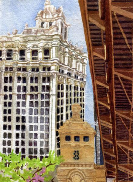 Architecture Painting - Michigan Ave Bridge .66 by Alice Ann Barnes
