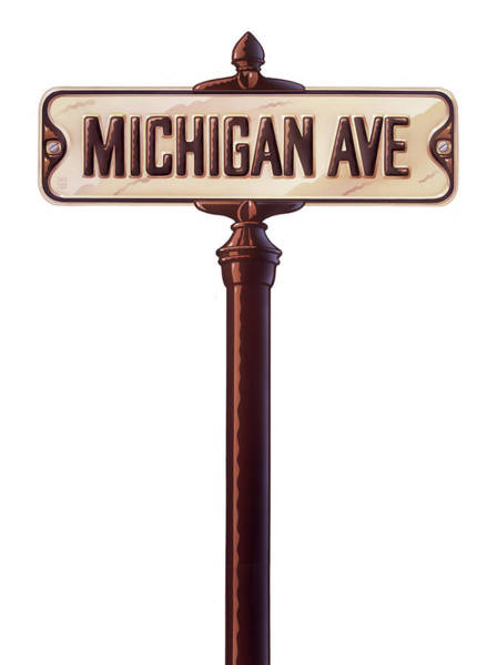 Wall Art - Painting - Michigan Avenue Sign by Garth Glazier