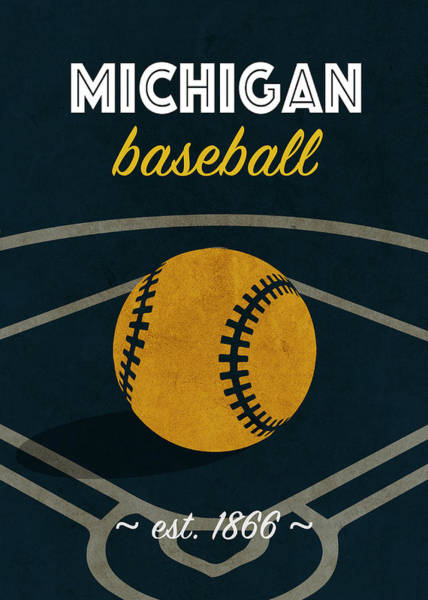 Wall Art - Mixed Media - Michigan Baseball College Sports Team Retro Vintage Poster Series by Design Turnpike