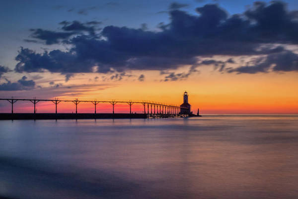 Photograph - Michigan City East Pierhead Lighthouse After Sunset by Andy Konieczny