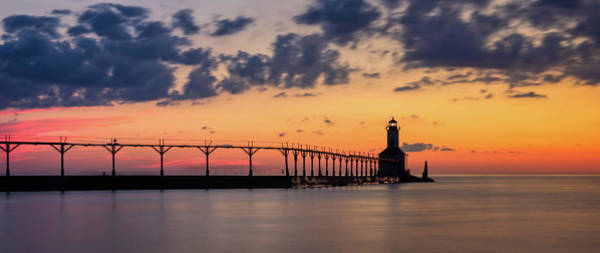 Photograph - Michigan City East Pierhead Lighthouse After Sunset Panorama by Andy Konieczny