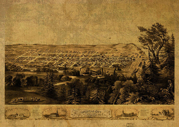 Wall Art - Mixed Media - Michigan City Indiana Vintage City Street Map 1869 by Design Turnpike