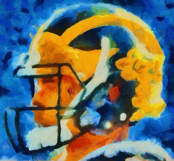 Wall Art - Painting - Michigan Football Helmet by Dan Sproul