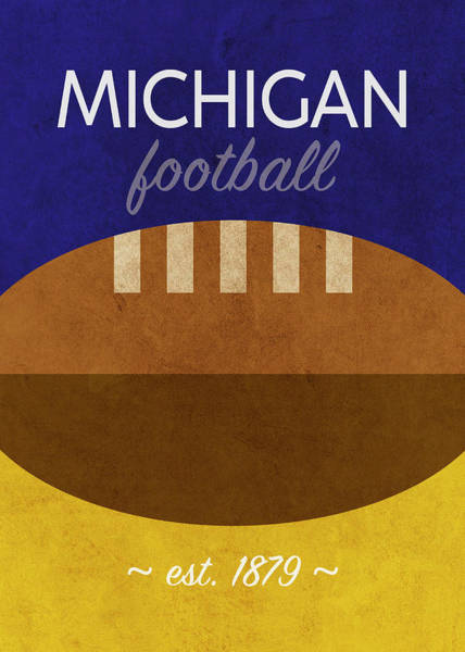 Wall Art - Mixed Media - Michigan Football Minimalist Retro Sports Poster Series 001 by Design Turnpike